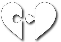Frantic Stamper Precision Die - Heart Puzzle-Our Heart Puzzle die cuts out 2 interlocking pieces. The heart measures x assembled. We recommend our matching clear stamp set Puzzle Me for coordinating sentiments. Puzzle Piece Crafts, Puzzle Pieces, Puzzle Heart, Puzzle Piece Template, Heart Template, Fall Gift Baskets, Mather Day, Heart Stencil, Shadow Box