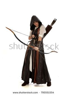 full length portrait of girl wearing brown fantasy costume, holding a bow and arrow. standing pose on white studio background. Action Pose Reference, Human Poses Reference, Pose Reference Photo, Action Poses, Archery Poses, Archery Girl, White Studio Background, Sword Poses, Bow Pose