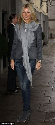 Gwyneth Paltrow has a pair of grey ankle boots in a host of different styles for every occasion, from the red carpet (right) to the airport (left)