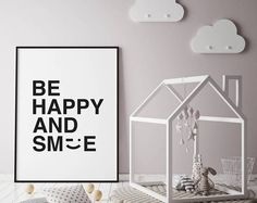 Be Happy and Smile Typographic Nursery Print. New Born Gift. Nursery Prints, Nursery Decor, Happy Smile, Etsy Seller, Creative, Gifts, Instagram, Home Decor, Presents