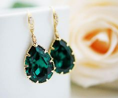 Wedding Jewelry Bridal Earrings Bridesmaid Earrings cubic zirconia ear wires and Emerald Swarovski Crystal Tear drops