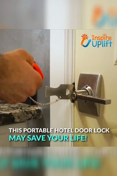 Portable Hotel Door Lock 😍 Staying in a hotel and feeling unsafe? Locks are broken or non-existent? Always feel youre Simple Life Hacks, Useful Life Hacks, Hotel Door Locks, Hotel Lock, Home Safety, Cool Inventions, Gadgets And Gizmos, Tech Gadgets, Home And Deco