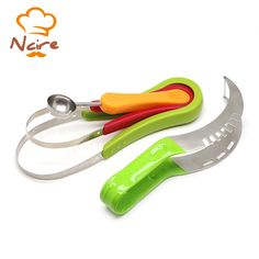 NCIRE Creative Watermelon Slicer Corer & Server Tongs Fruit Cutter Right With Melon Baller Scoop Set and Fruit Carving Knife
