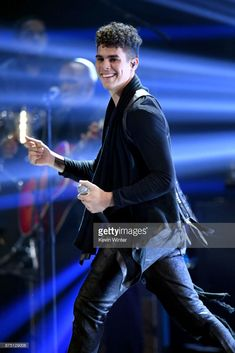 Zabdiel De Jesus of CNCO performs onstage at the Annual Latin Grammy Awards at MGM Grand Garden Arena on November 2017 in Las Vegas, Nevada. Cute Celebrity Guys, Cute Celebrities, Memes Cnco, Jesus Wallpaper, Mgm Grand Garden Arena, James Arthur, Five Guys, Just Pretend, Ricky Martin