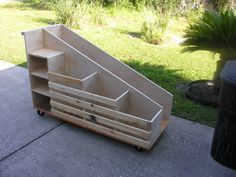 Modified Lumber Cart - Angled View I used strapping for the front, much cheaper ., Modified Lumber Cart – Angled View I used strapping for the front, much cheaper …, Lumber Storage Rack, Wood Storage Box, Shop Storage, Garage Storage, Lumber Rack, Garage Organization, Woodworking Shop, Woodworking Plans, Woodworking Projects