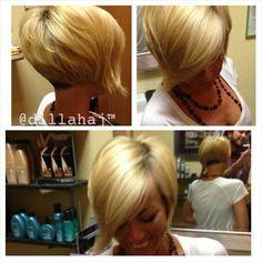Pixie hairstyle blonde long fringe short back