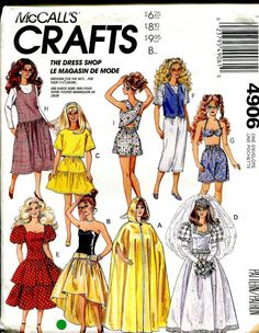 McCalls 4906 Barbie Sewing Pattern Vintage Retro 90s Wardrobe--Wedding, Cape, Formal Dresses, Jumper, Summer via Etsy