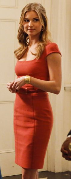 Emily's orange cap sleeve pencil dress on Revenge.  Outfit details: http://wornontv.net/13405/