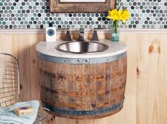 Reclaimed wine barrel used to create unique bathroom sink