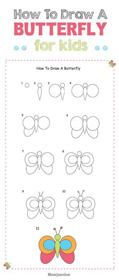 Drawing Doodles Ideas How To Draw A Butterfly For Kids? - Want to teach a butterfly drawing lesson for your kid, then here is how to draw a butterfly for kids. It will not only teach your kid butterfly drawing, but much more. Art Drawings For Kids, Doodle Drawings, Colorful Drawings, Animal Drawings, Easy Drawings, Doodle Art, Art For Kids, Crafts For Kids, Drawing Lessons For Kids