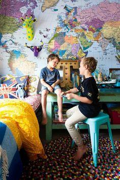kids bedroom world map