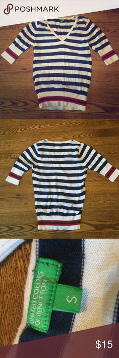 United Colors of Benetton size small sweater. Snazzy striped sweater in size small! Mid-length sleeves. United Colors Of Benetton Sweaters V-Necks