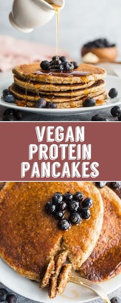 Protein Pancakes Vegan Protein Pancakes- these healthy breakfast pancakes are easy to make and SO GOOD!Vegan Protein Pancakes- these healthy breakfast pancakes are easy to make and SO GOOD! Protein Desserts, Vegan Protein Pancakes, Vegan Pancake Recipes, High Protein Vegan Recipes, Waffle Recipes, Snack Recipes, Best Vegan Pancakes, Healthy Recipes, Vegan Meals
