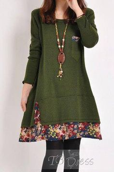Patchwork Floral Hemline Women's Casual Dress - Google Search