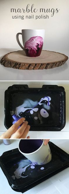 To make these gorgeous #DIY Marble Mugs, all you need to do is pour nail polish into a container of warm water and dip your mug inside to create this cool design. It takes a little practice (and patience) to get the technique down but it's well worth the effort.                                                                                                                                                     More