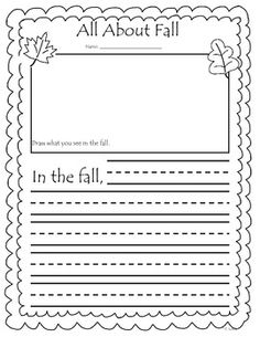 This file contains a fall writing prompt.  It includes a spot for a picture and lines for the children to write a fall fact.