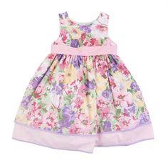 Laura Ashley Girls 2-6X Floral Printed Dress with Polka Dot Trim