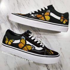 fa63cab8 Orange Butterflies Custom Embroidered-Patch Vans Old-Skool Sneakers  #Sneakers