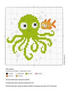 Handicrafts: Seafood designs for cross stitch patterns Cross Stitch Sea, Cross Stitch For Kids, Cross Stitch Animals, Cross Stitch Charts, Cross Stich Patterns Free, Cross Stitch Designs, Cross Stitching, Cross Stitch Embroidery, Broderie Simple