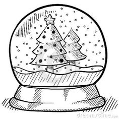 how to draw christmas objects | Doodle style Christmas show globe illustration in vector format