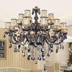[ $259 OFF ] Smoky Grey Fashion Of Luxury Large Crystal Chandelier Light Living Room Lights Modern Crystal Chandelier Lighting