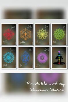 Yoga Dcor Seven Chakras Art Print Set 7 Studio Wall