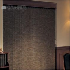 Save 20% on Graber Blinds and Shades during January- like the Fabric Vertical Blinds, shown in London Tweed Hunt.