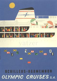Freddy Carabott, poster for Olympic Cruises, 1969