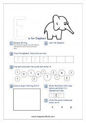 Alphabet Recognition Activity Worksheet - Capital Letter - E For Elephant Alphabet Writing Practice, Alphabet Tracing, Printable Alphabet, Free Printable, Rainbow Writing, Phonics Sounds, Alphabet Pictures, Kindergarten Language Arts, Teaching Themes