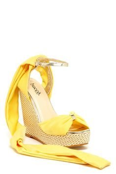 Yellow Bucco Vara Wedge Sandals  Would pair lovely with a feminine, lemon yellow sun-dress.