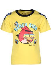 If your little boy love 'Angry Birds' then, gift him this yellow coloured T-shirt by Angry Birds. Made of cotton, this T-shirt will surely lend him a smart look, while keeping him comfortable all day long. Club this T-shirt with jeans or a pair of shorts.