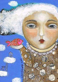 Original Mixed Media  Folk Art Modern painting moonlight face girl dream