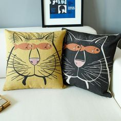 Black cat decorative pillows for couch hand painted style linen sofa cushions
