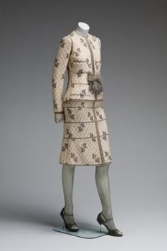 An evening dinner suit by the House of Chanel; silk net lace over wool. A gift of Mrs. Charles Wrightsman to the Mint Museum. Unique Fashion, Timeless Fashion, Love Fashion, Retro Fashion, Vintage Fashion, Classic Fashion, High Fashion, Chanel Fashion, Couture Fashion