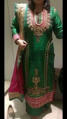 Modish Green and Pink Colored Designer Hand Worked Suit In Pure Raw Silk With Dupatta