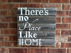 Ready-To-Ship Theres No Place Like Home rustic sign in weathered wood with white words hand painted  on Etsy