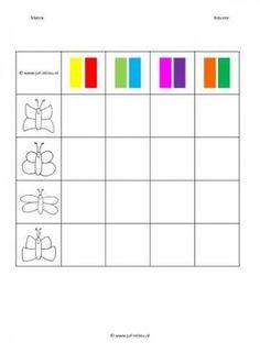 Deze matrix en nog veel meer in de categorie kleuren kun je downloaden op de website van Juf Milou. Visual Perceptual Activities, Math Patterns, Chenille, Diy For Kids, Coloring Pages, Bar Chart, Kindergarten, Montessori, Learning