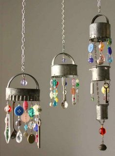 Recycled Silverware and Buttons Wind Chime.