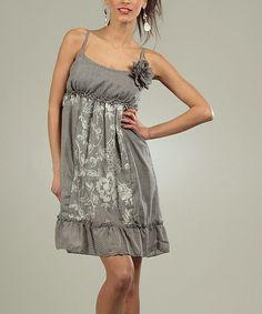 Another great find on #zulily! Gray Floral Empire Waist Dress #zulilyfinds