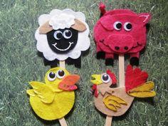 Ashley's Craft Corner: Farm animals on a stick