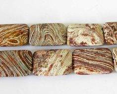 35mm Rectangle Striped Jasper Beads 3 Beads Focal by TheBeadStore