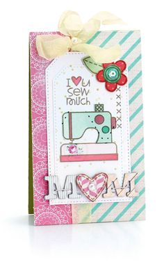 Hero Arts - Sew Artsy Sew Much by Melissa Phillips Mom Cards, Mothers Day Cards, Cute Cards, Cards Diy, Tri Fold Cards, Folded Cards, Diy Cards And Envelopes, Washi Tape Cards, Fabric Cards