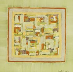 DOROTHY R. LEWIS 20TH CENTURY ABSTRACT IN RED, YELLOW AND GREEN signed, gouache. 23 by 23.5cm; Executed in 1971.
