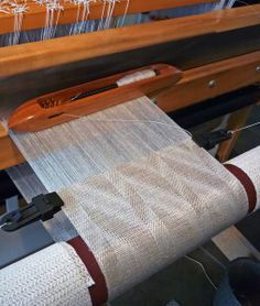 At 26 picks per inch, the weaving goes very quickly. I'm nearly done with the first scarf on the warp. Unlike the draft. Inkle Loom, Loom Weaving, Hand Weaving, Weaving Tools, Weaving Projects, Weaving Textiles, Weaving Patterns, Textile Design, Textile Art