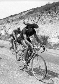 Tour de France 1950, Ferdi Kubler protecting from the sun.