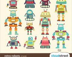 Robot Clipart DIY Party Invitation Cards VECTOR Clip Art Cute