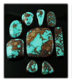 A Pilot Mountain Turquoise Cabochon Collection from Durango Silver Company - List of the best jewelry Turquoise Rings, Coral Turquoise, Turquoise Stone, Aqua, Minerals And Gemstones, Crystals Minerals, Stones And Crystals, Gem Stones, Ruby Jewelry