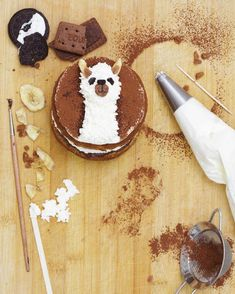 No better reason to bake up a banana llama cake! Frances Quinn, Donuts, Just Desserts, Dessert Recipes, Pretty Cakes, Cake Creations, Let Them Eat Cake, I Love Food, Dessert Table