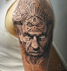 Aztec warrior guy - 50+ Cool Sleeve Tattoo Designs