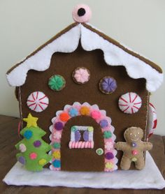 "felt gingerbread house, ""icicles"""